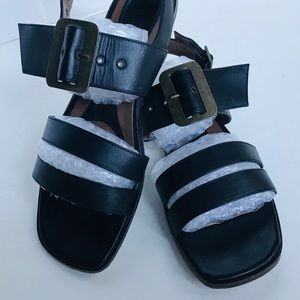 MARNI Black Strappy Large Buckle Sandals Size 8